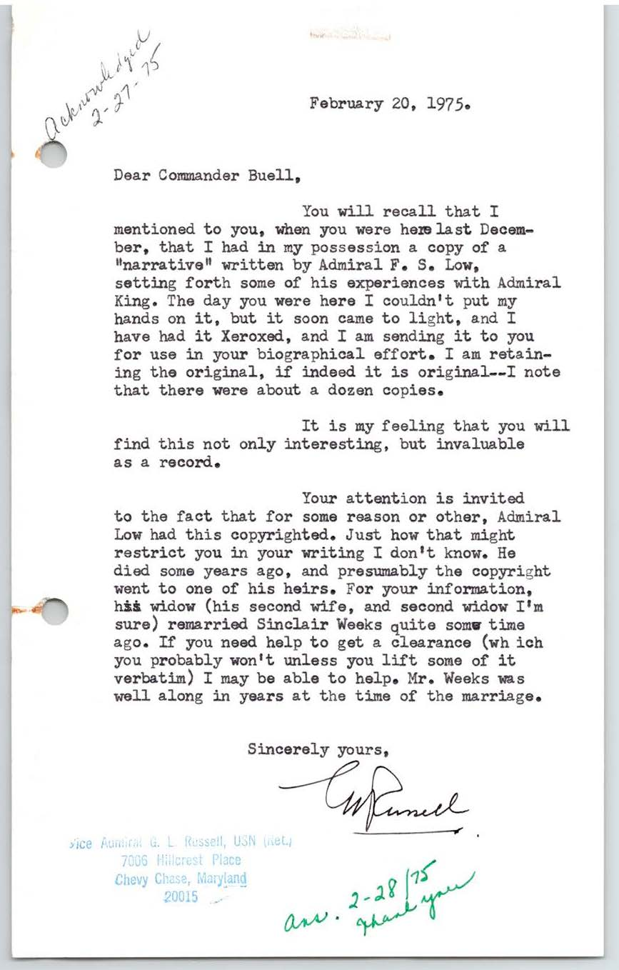 """Personal narrative of my association with Fleet Admiral Ernest J. King, U.S. Navy,"""" by ADM Francis S. Low, USN (Ret.)"""