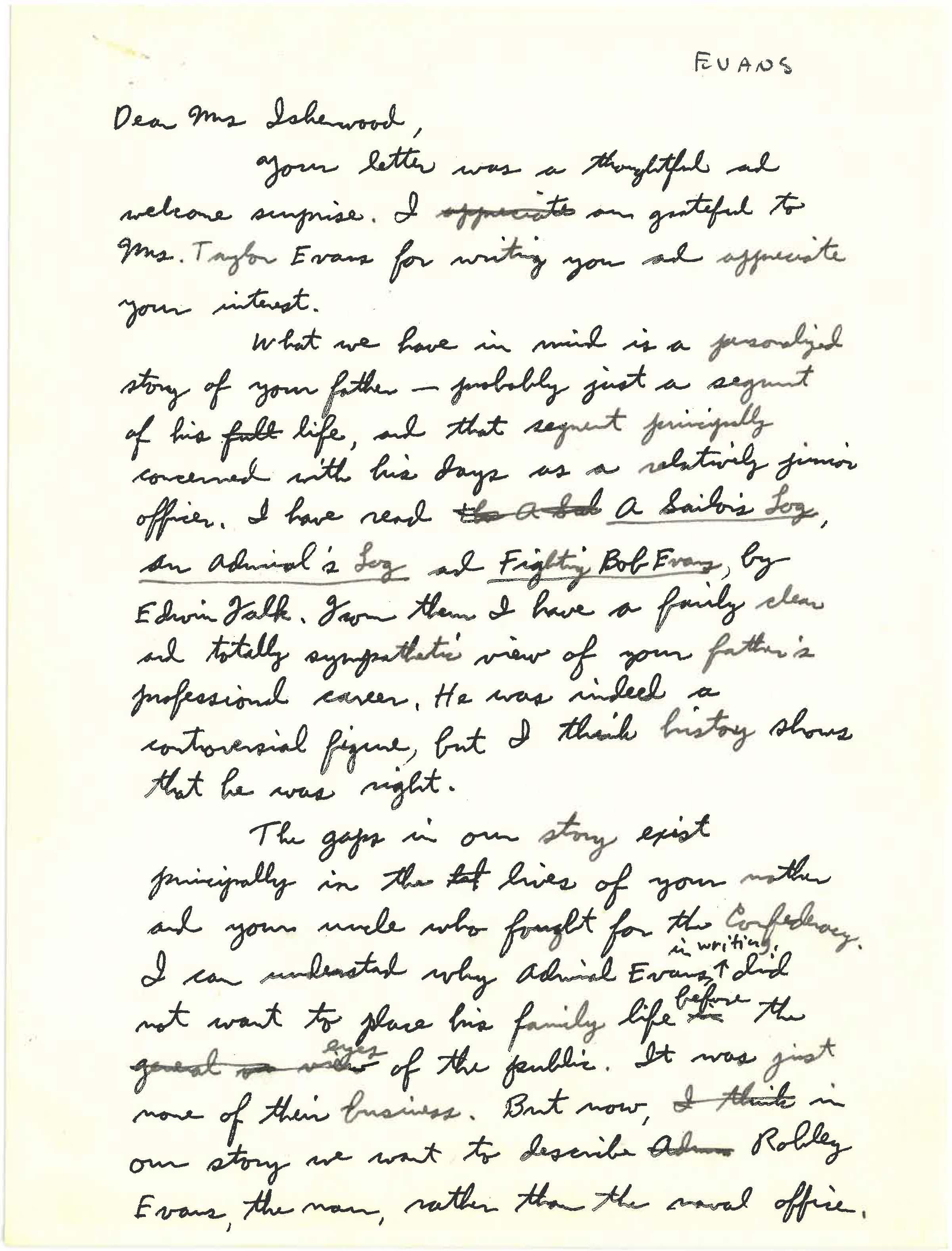 Unsigned letter to Mrs. Isherwood