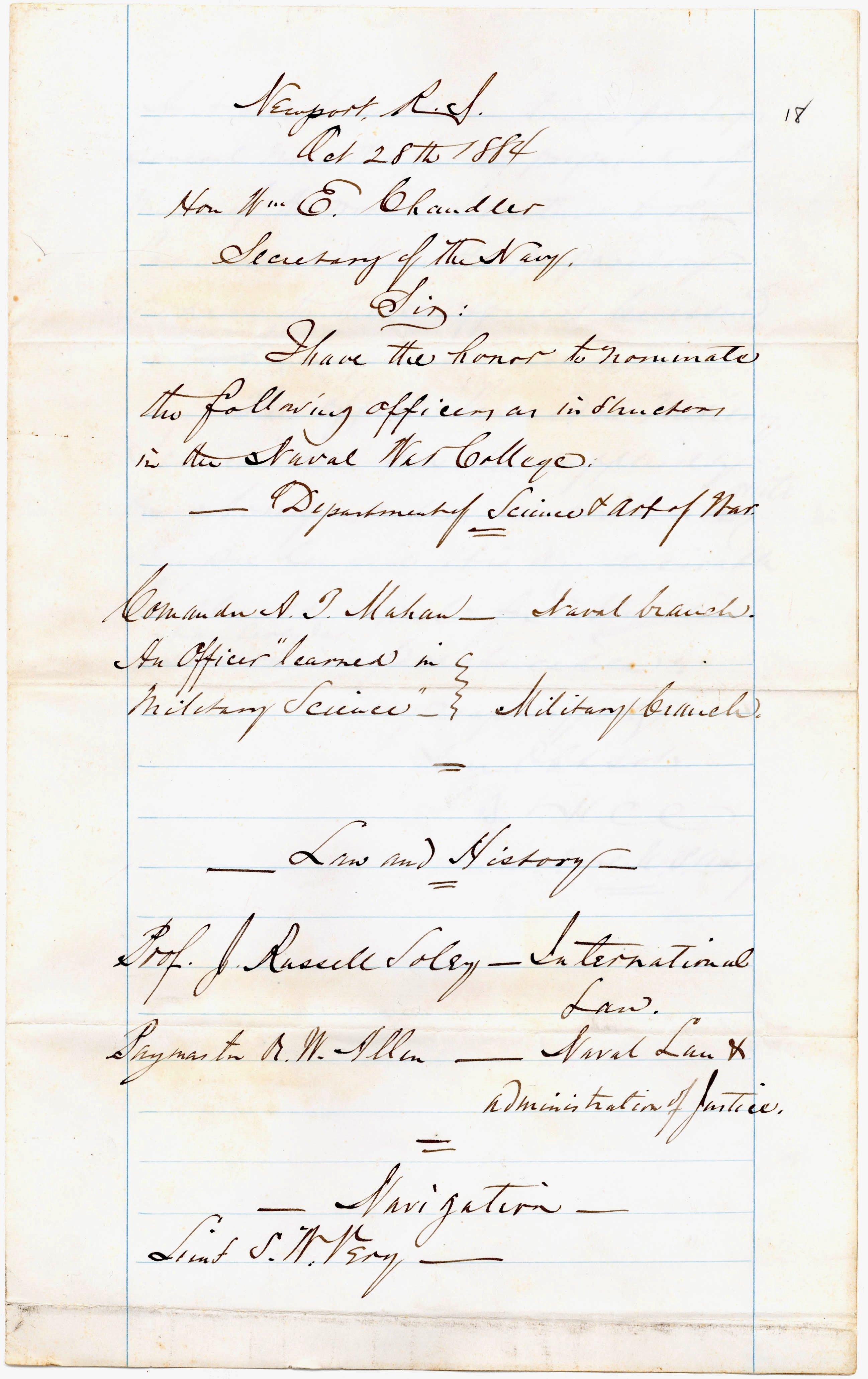 Letter from Stephen B. Luce to William E. Chandler, 1884 Oct 28