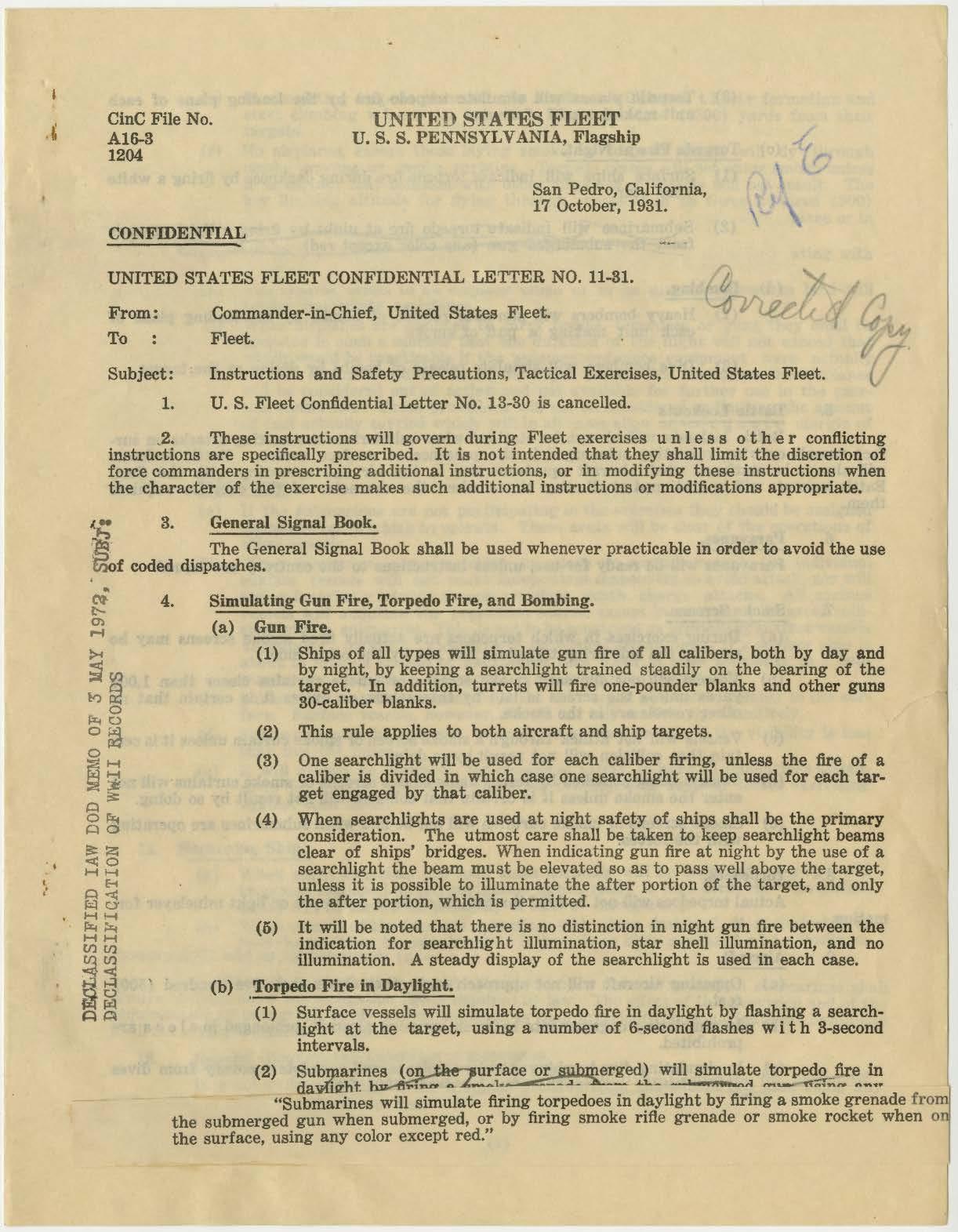 US Fleet Confidential Letter No. 11-31
