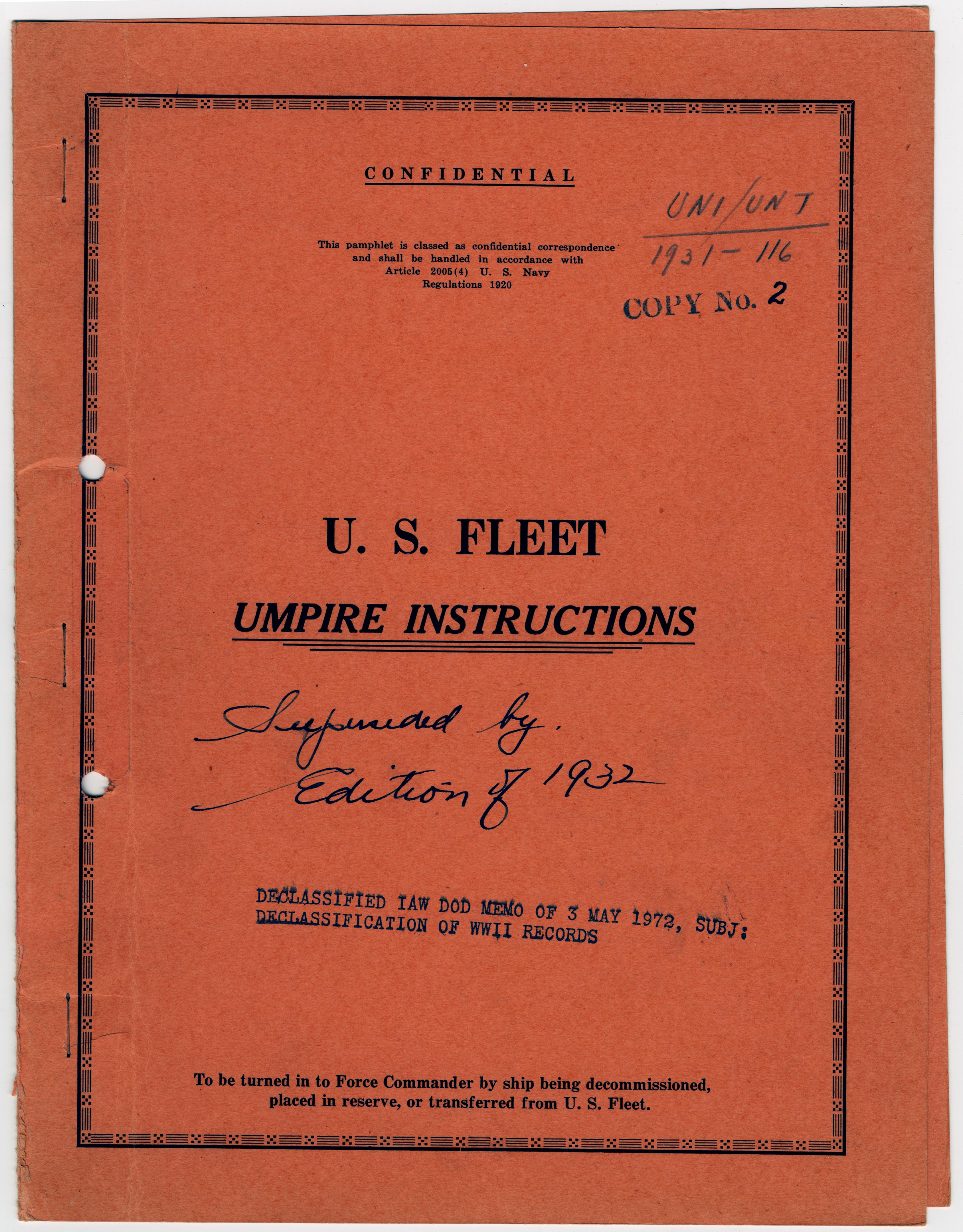 U.S. Fleet: Umpire Instructions 1931
