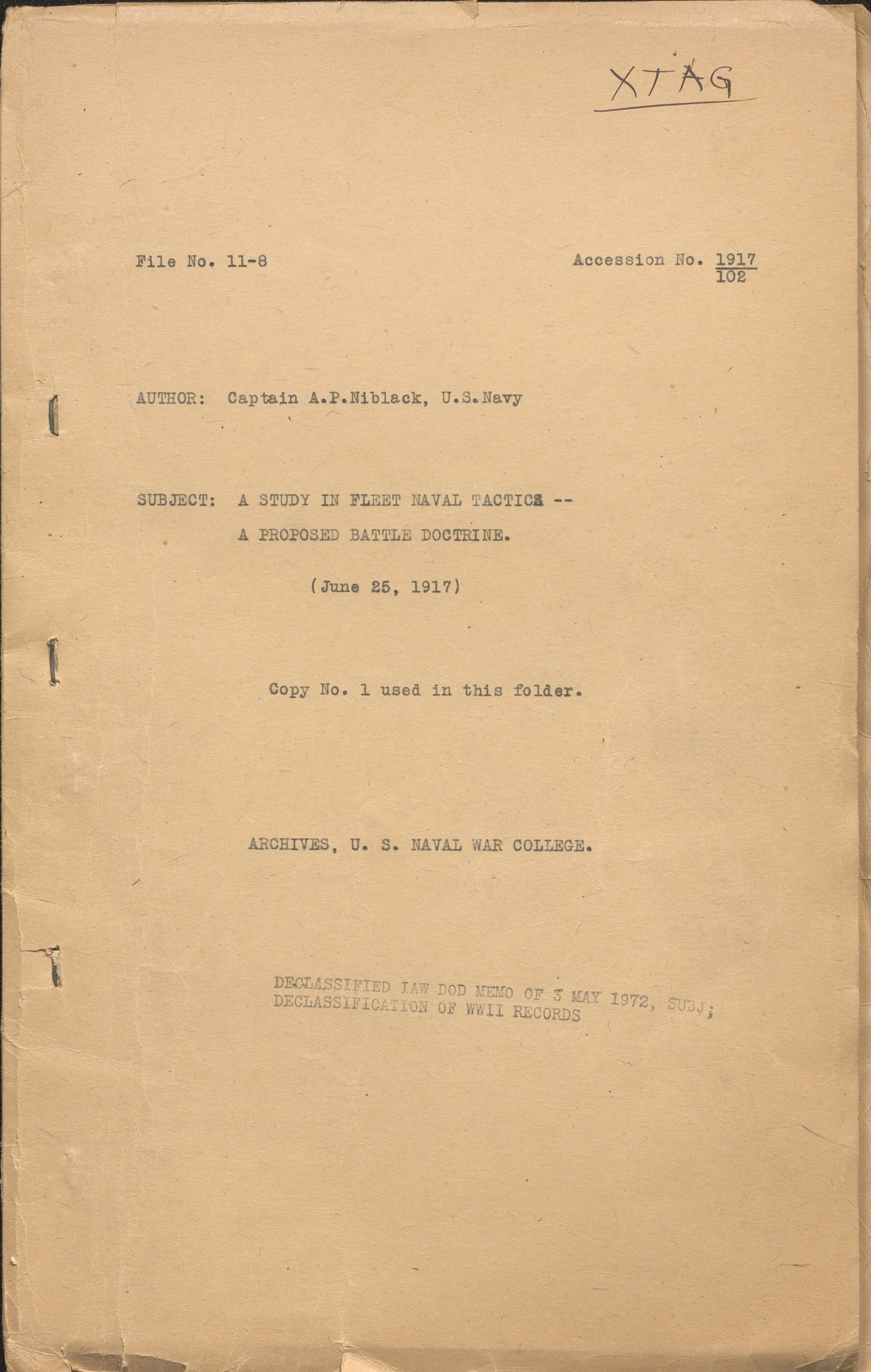A study in fleet naval tactics: a proposal battle doctrine, Capt. A. P. Niblack