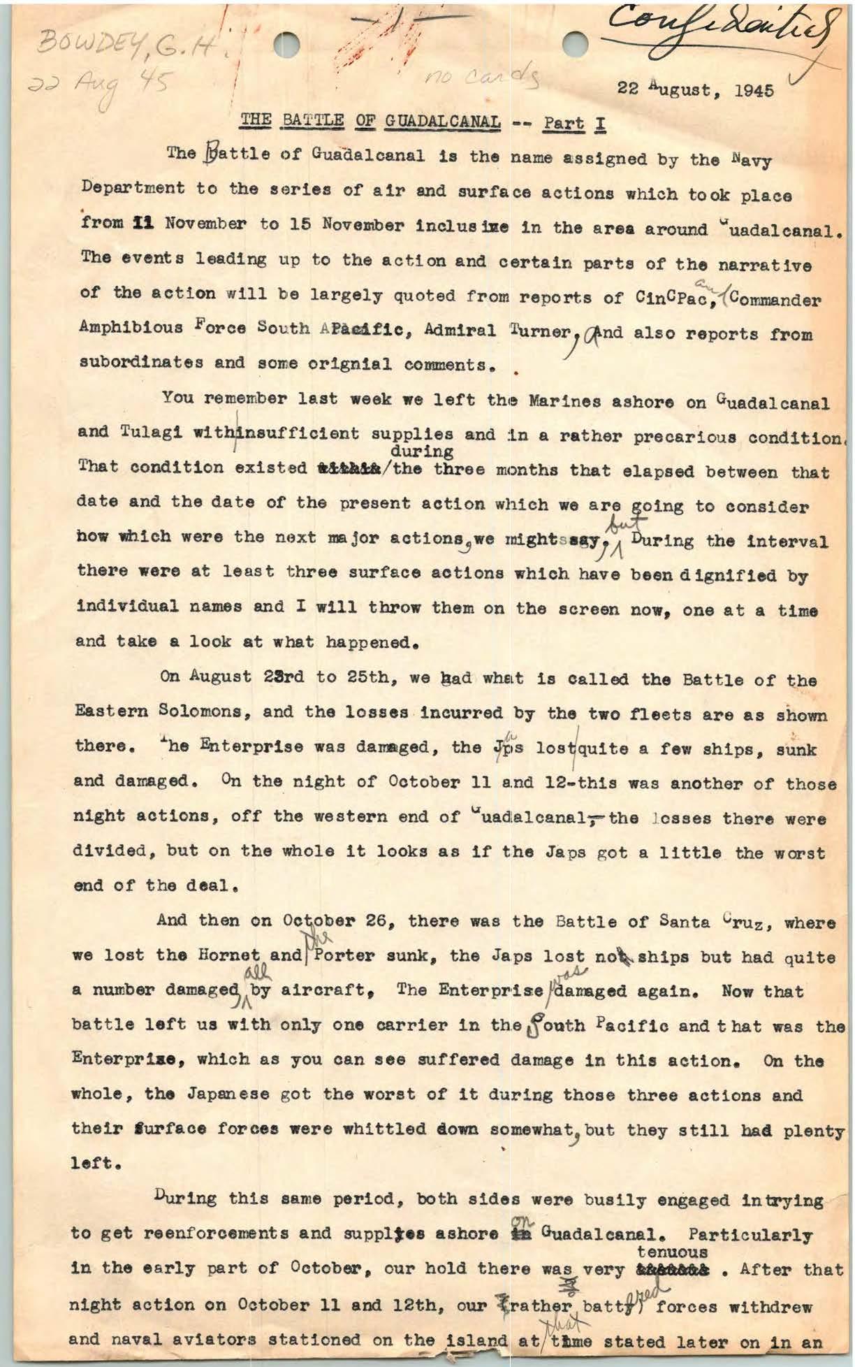 Battle of Guadalcanal, G.H. Bowdey
