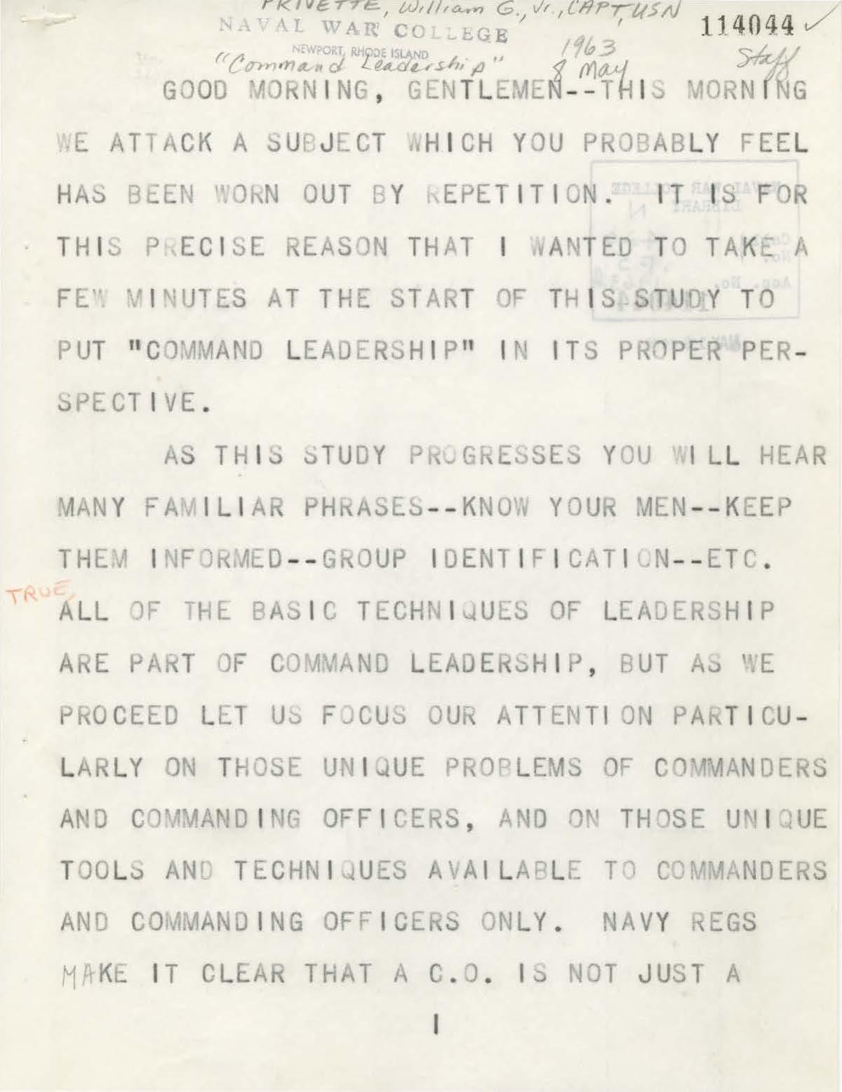 Command Leadership, W. Privette