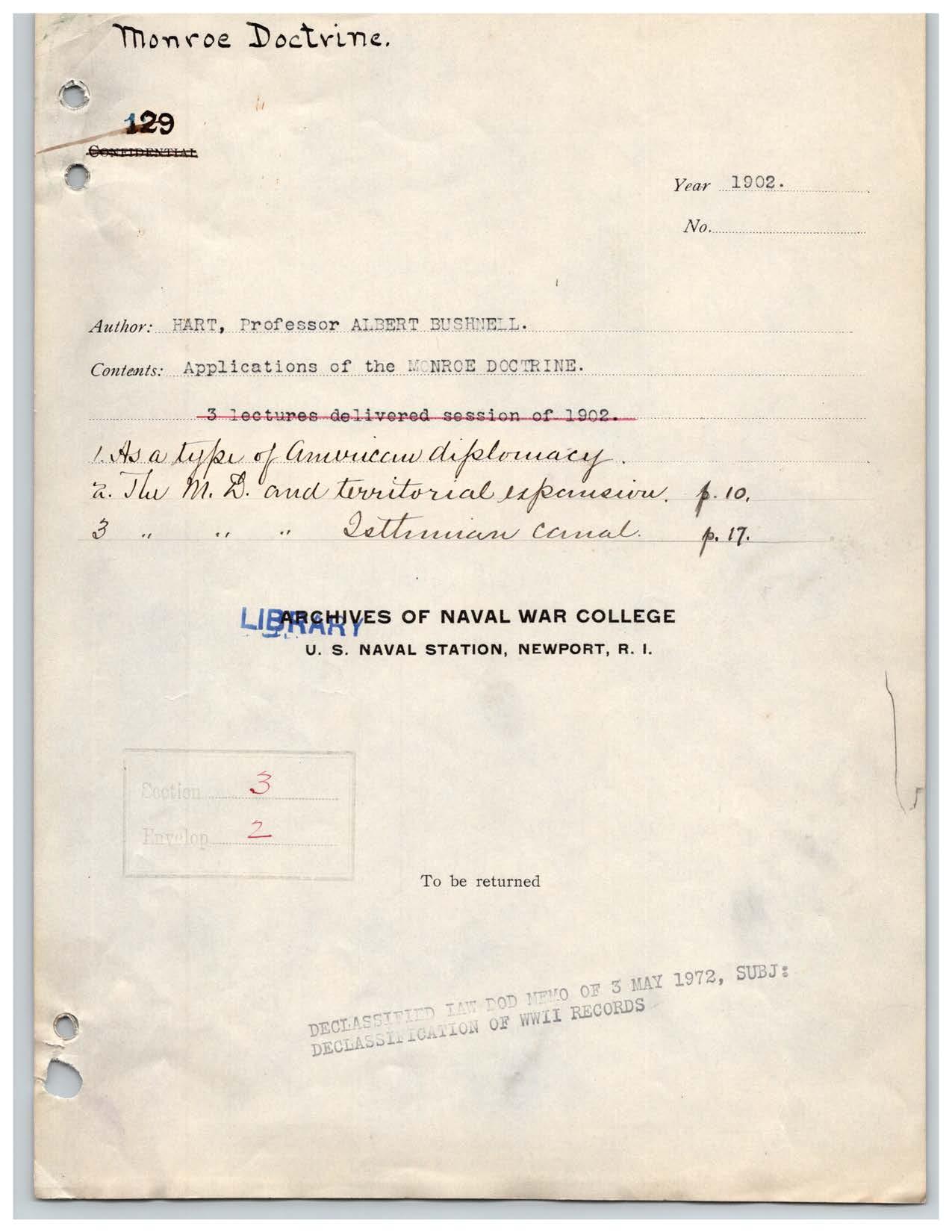 Applications of the Monroe Doctrine, Albert Bushnell Hart
