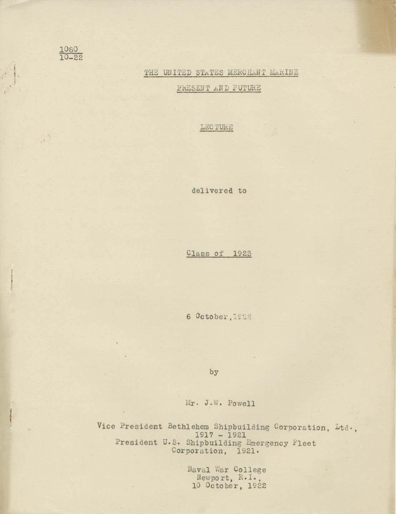 United States Merchant Marine, Present and Future, J. W. Powell