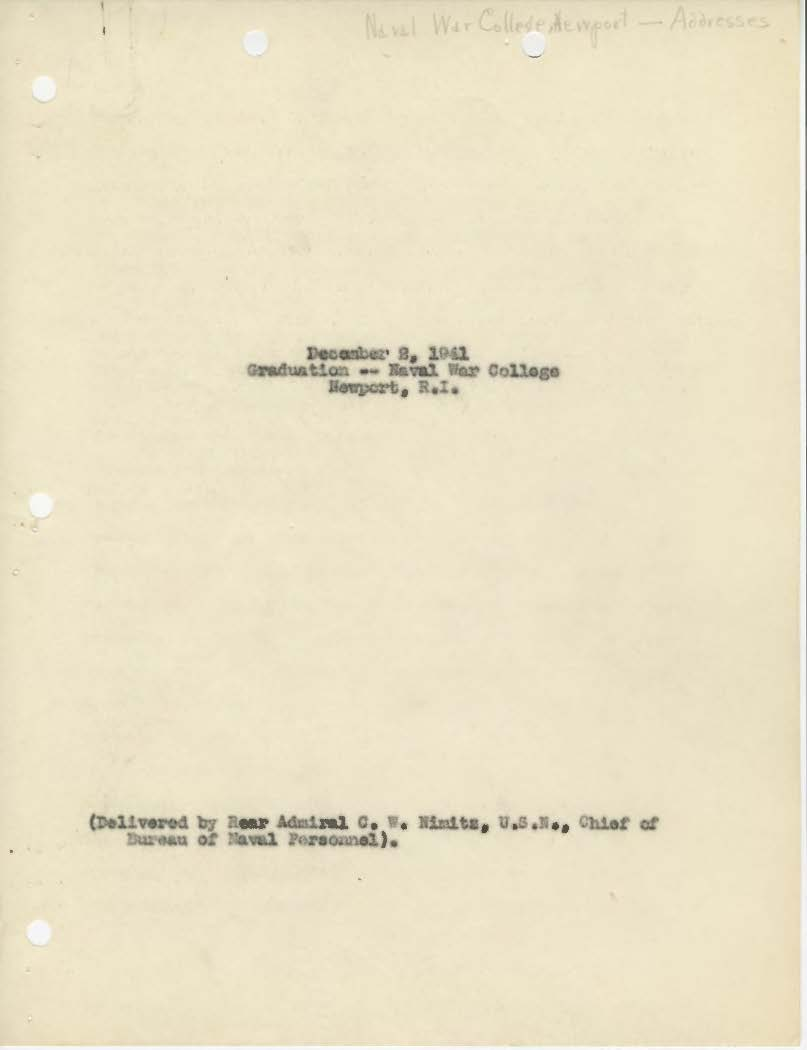 Address by Bureau of Navigation Chief at graduation, Chester W. Nimitz