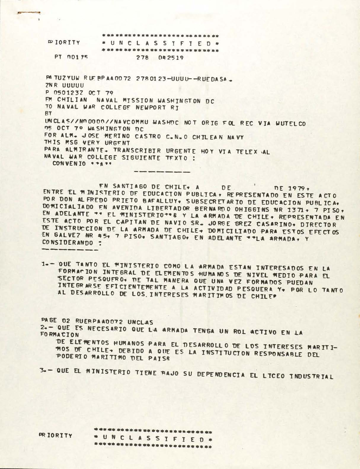 Teletype message to Chilean Navy CNO from the Chilean Naval Mission
