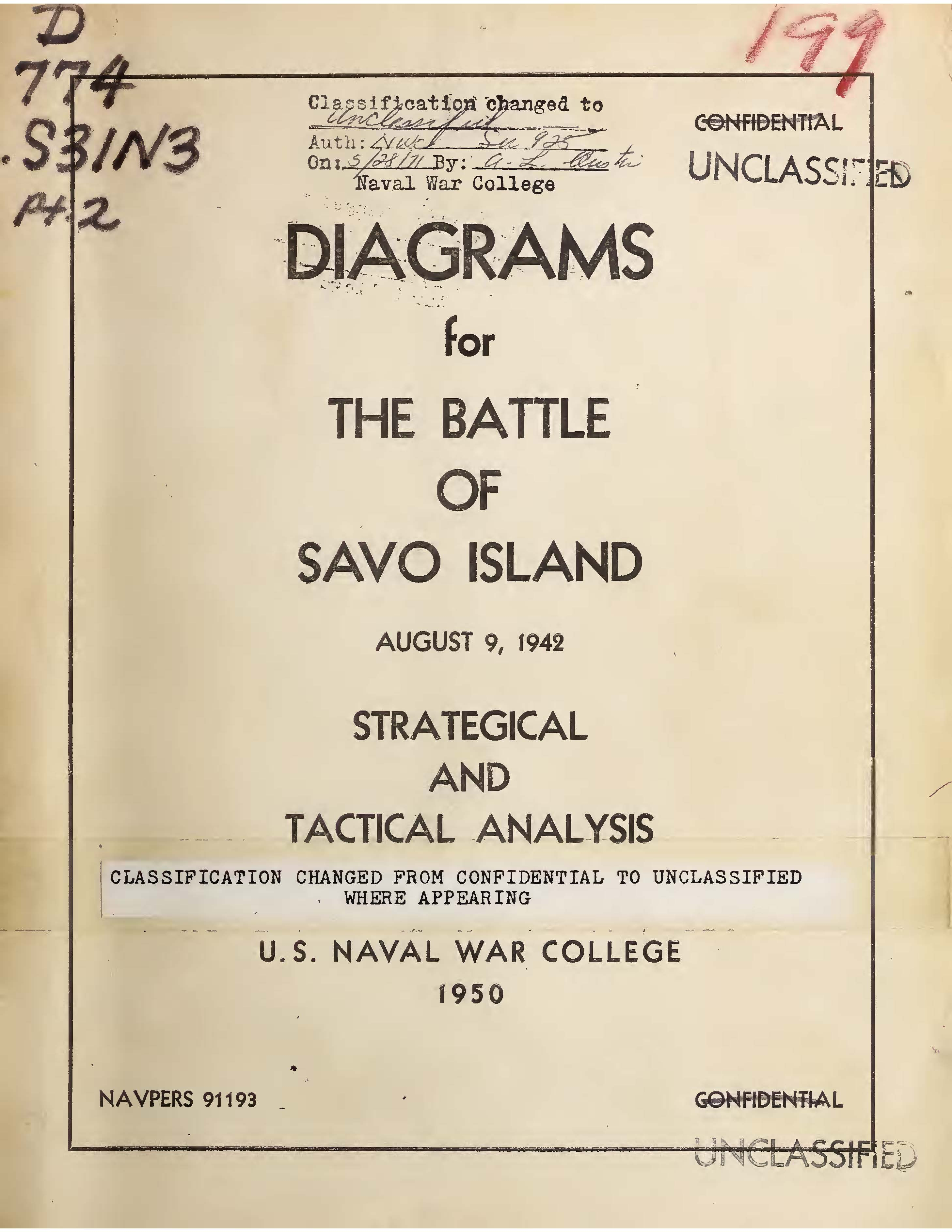 Diagrams for the Battle of Savo Island, August 9, 1942: Strategical and Tactical Analysis, 1950